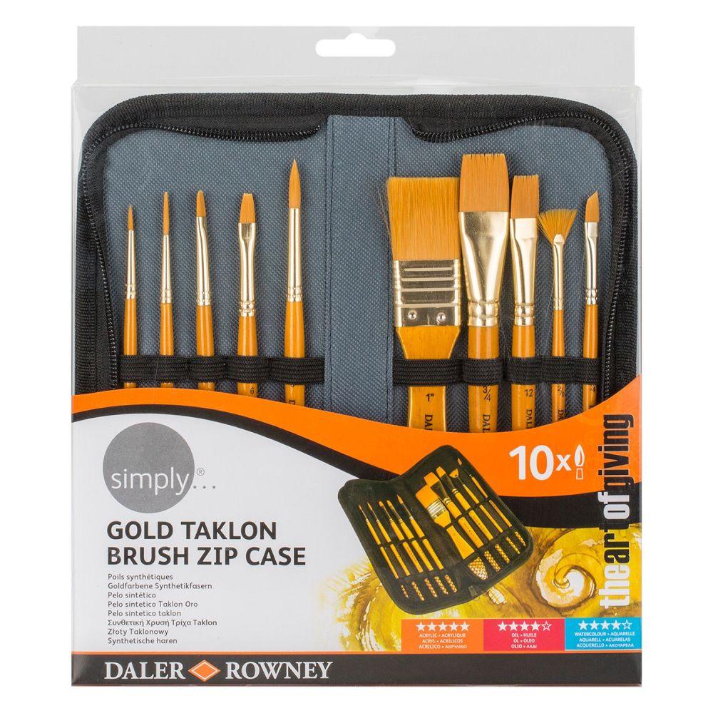 Daler Rowney Artist Brush Zip Up Case & 10 Paint Brushes