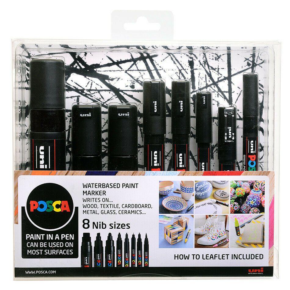 Uni POSCA Marker Pen Set of 8 Nib Sizes / Tips - Black
