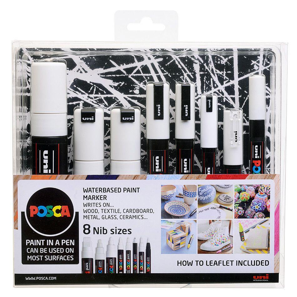 Uni POSCA Marker Pen Set of 8 Nib Sizes / Tips - White