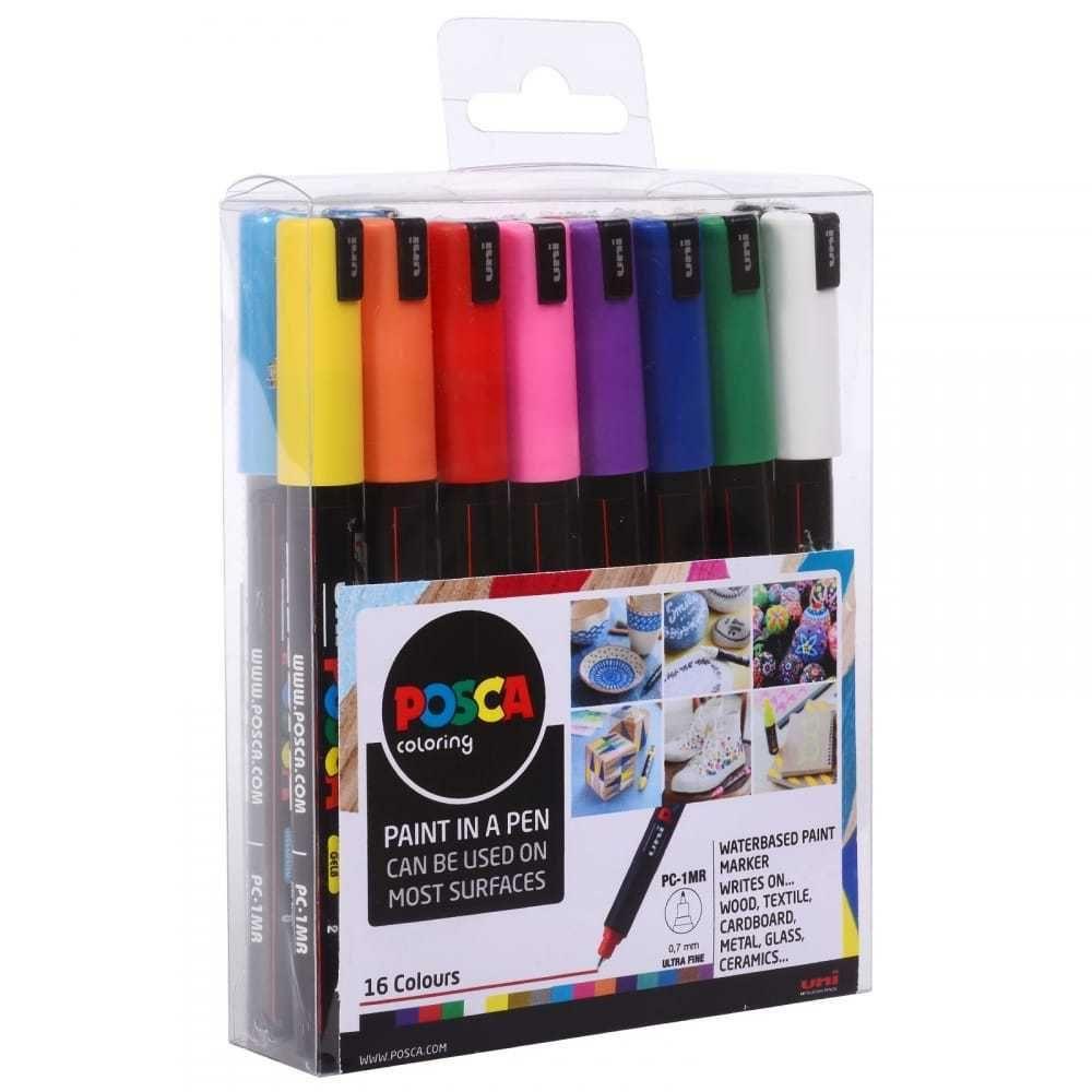 POSCA Marker Pen PC-1MR - Ultra Fine 0.7mm - Set of 16 Assorted
