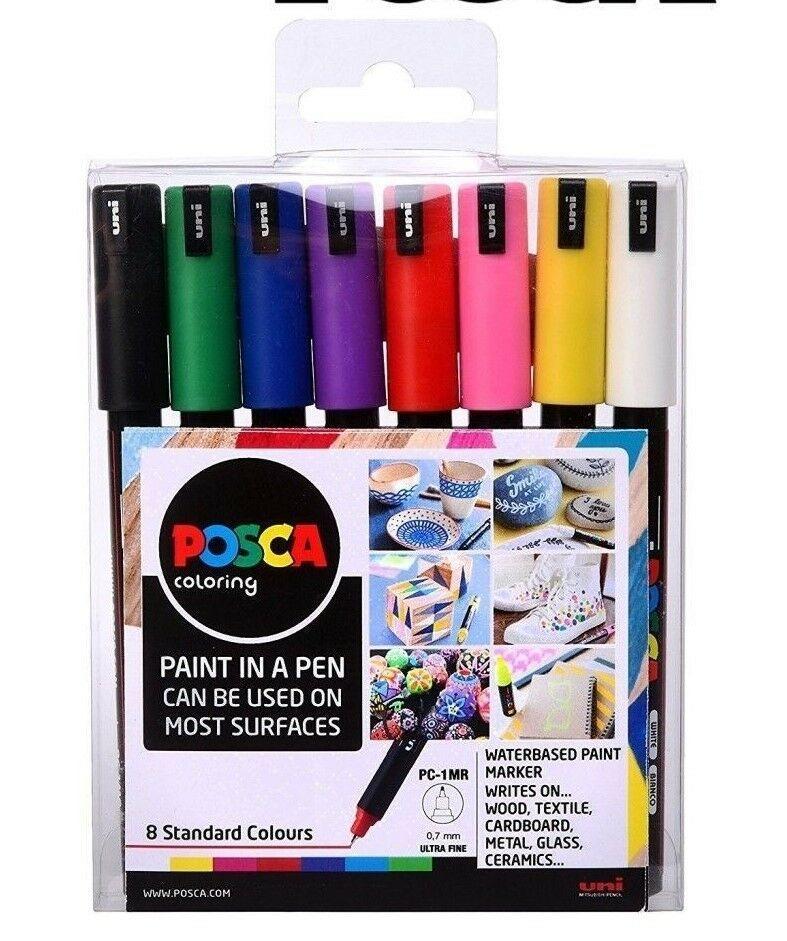 POSCA Marker Pen PC-1MR - Ultra Fine 0.7mm - Set of 8 Assorted