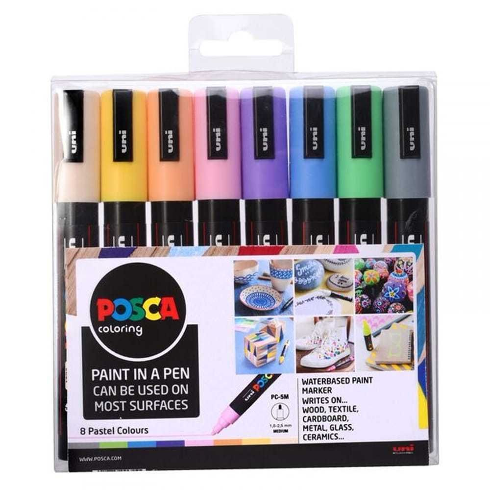 POSCA Paint Marker Pen PC-5M - Medium 2.5mm - Set of 8 Pastel Colours