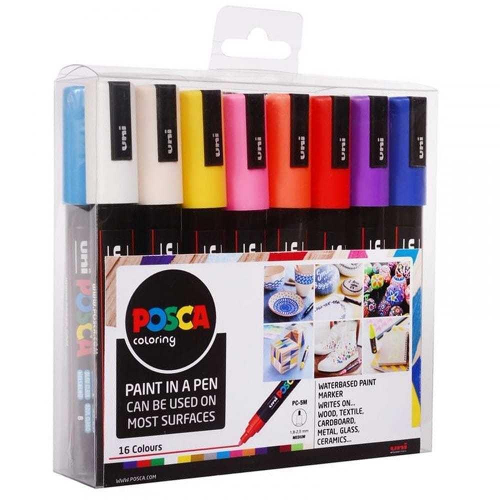 POSCA Paint Marker Pen PC-5M - Medium 2.5mm - Set of 16 Assorted