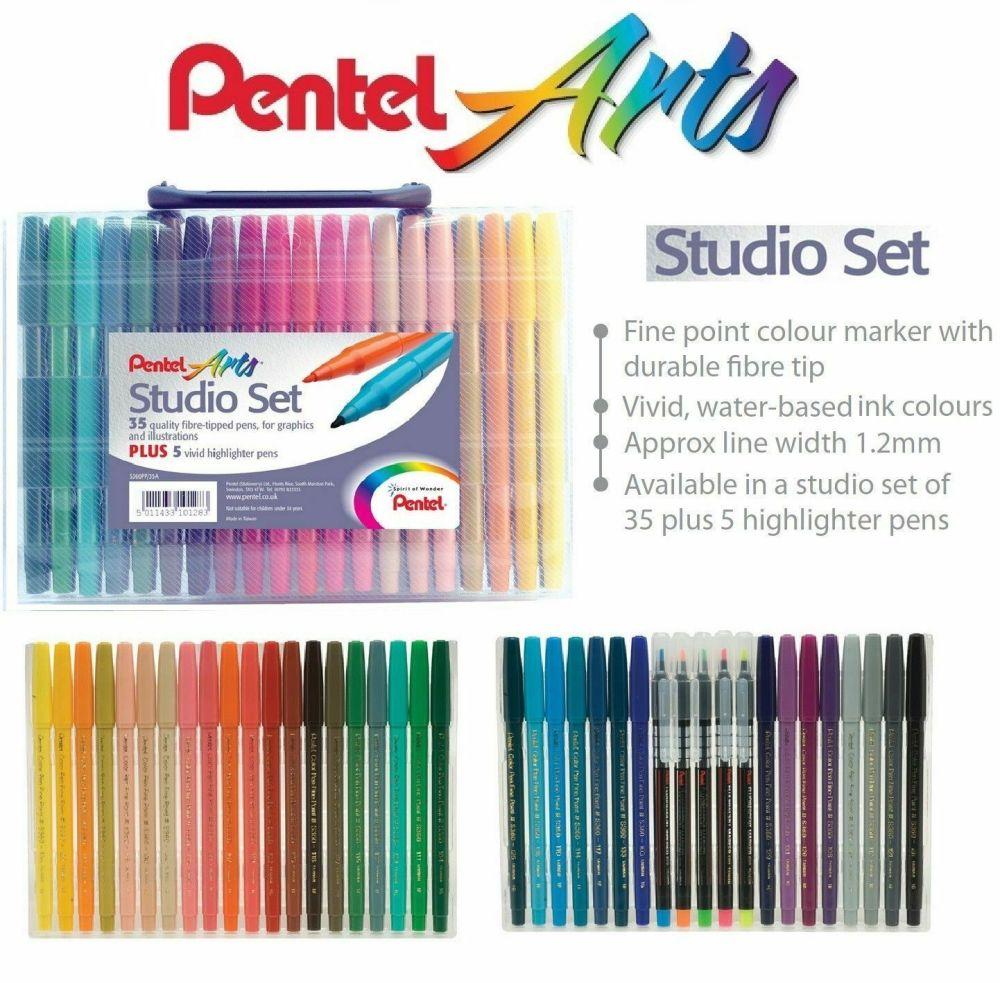 Pentel Arts 40 Fibre Felt Tip Colouring Pens