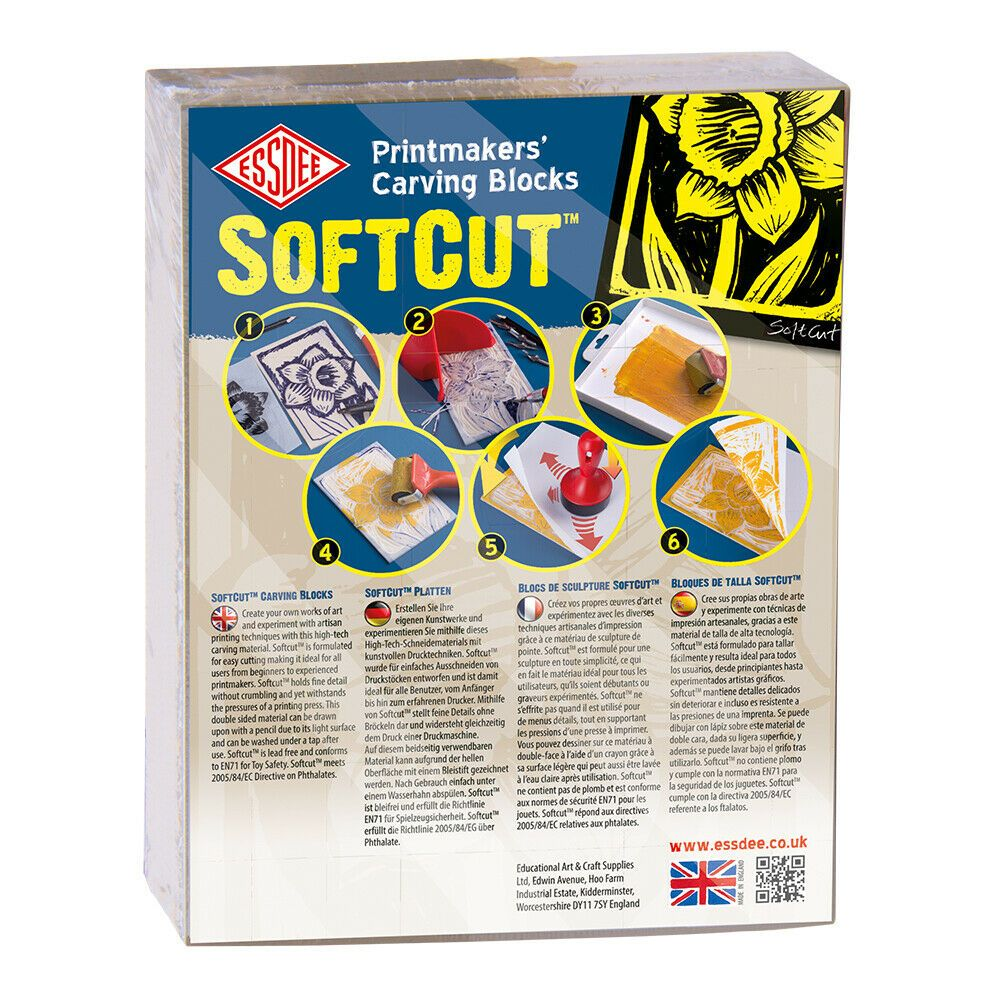Essdee Printmakers' Soft Cut Lino Carving Block Various Sizes Pack of 10 Sheets