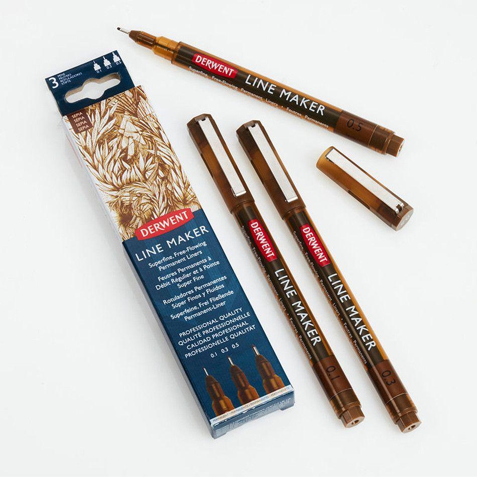 Derwent Line Maker Drawing Pen Sepia Set of 3