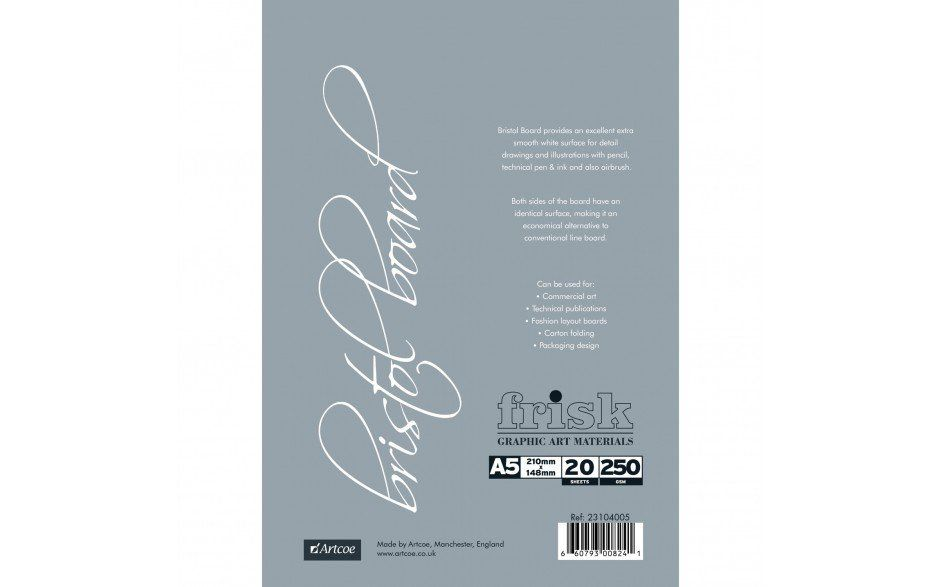 FRISK BRISTOL BOARD A5, A4 or A3 - 250 GSM - 20 SHEETS