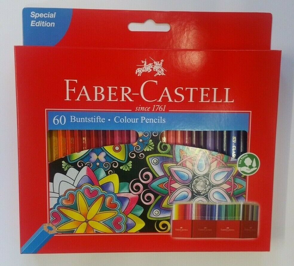 Faber-Castell Colour Pencils Pack of 60 Art Set with Holder