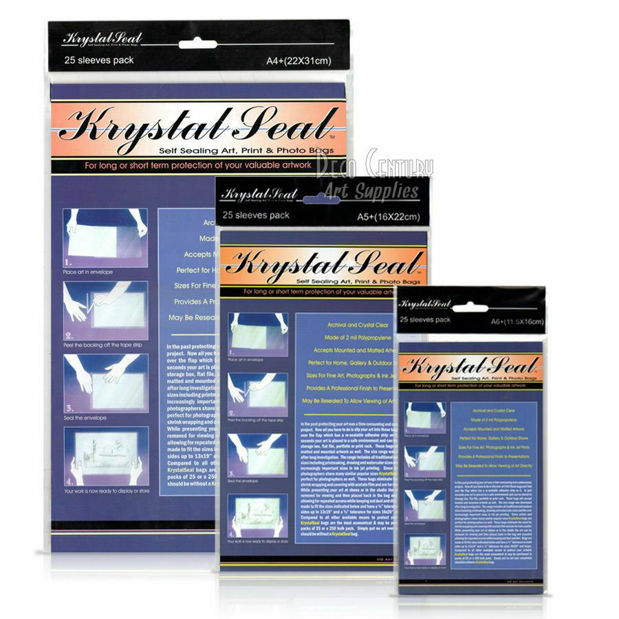 Krystal Seal Sleeves Archival Acid-Free Resealable for Artwork, Photos, A6, A5, A4