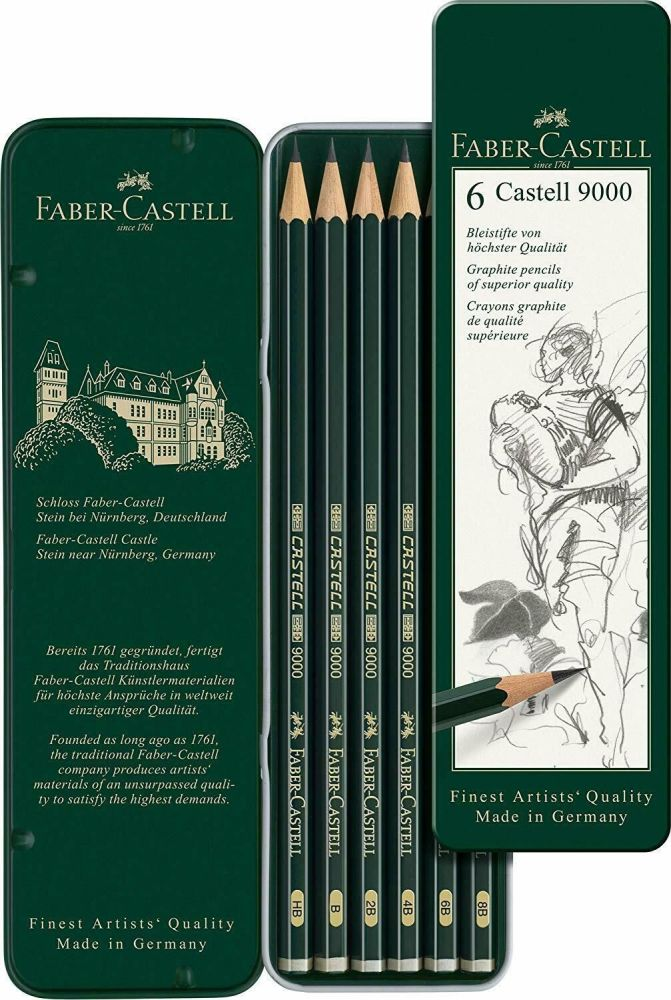 Faber Castell 9000 Artists Quality Graphite Pencils - Tin of 6
