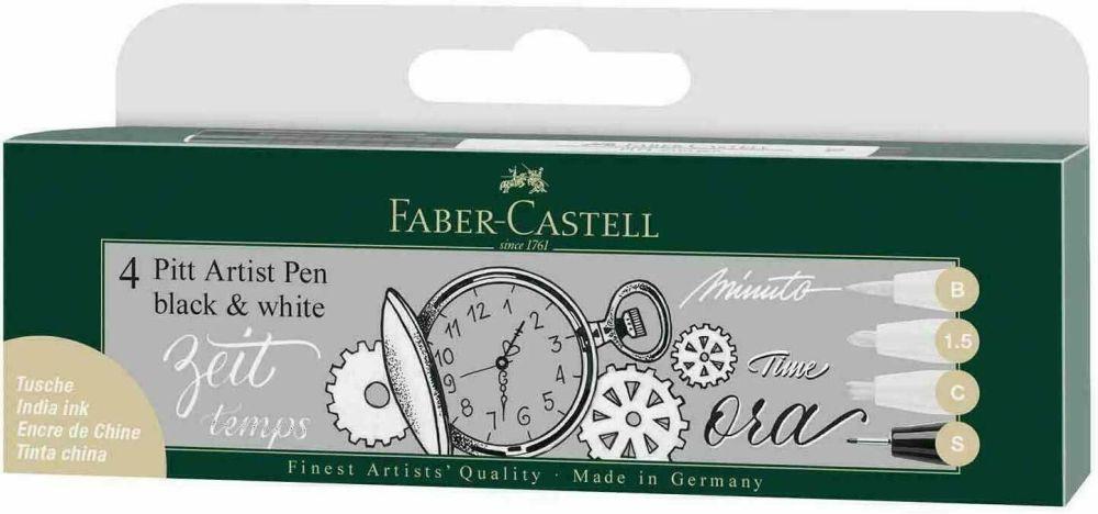 Faber Castell Pitt Pens - Black and White set of 4