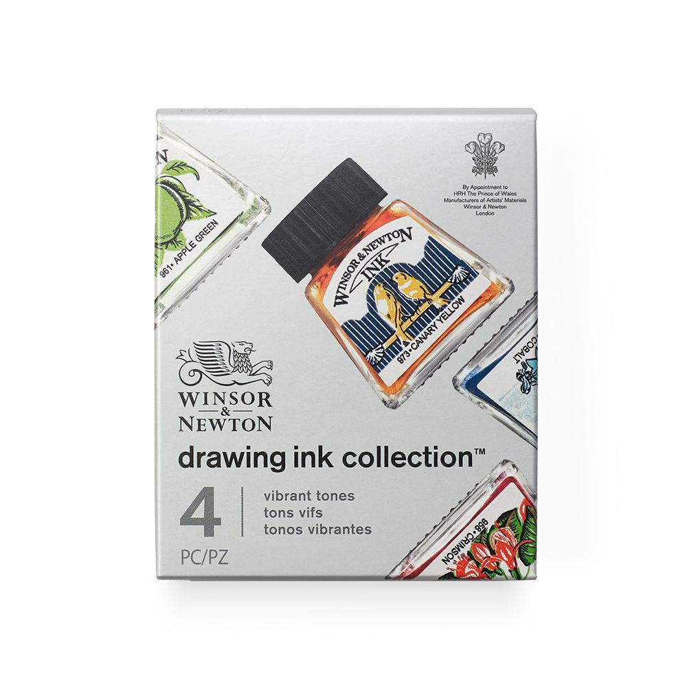 Winsor & Newton Drawing Ink Set of 4 Vibrant Tones
