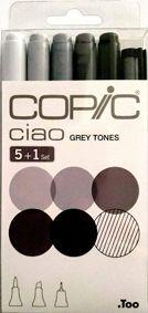 Copic Ciao 5+1 Pen Set - Grey Tones