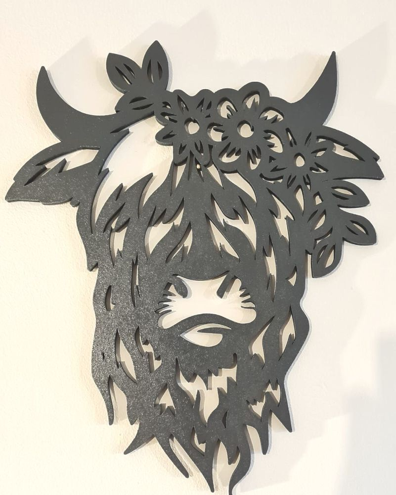 Highland Cow Wall Hanging - With Flowers