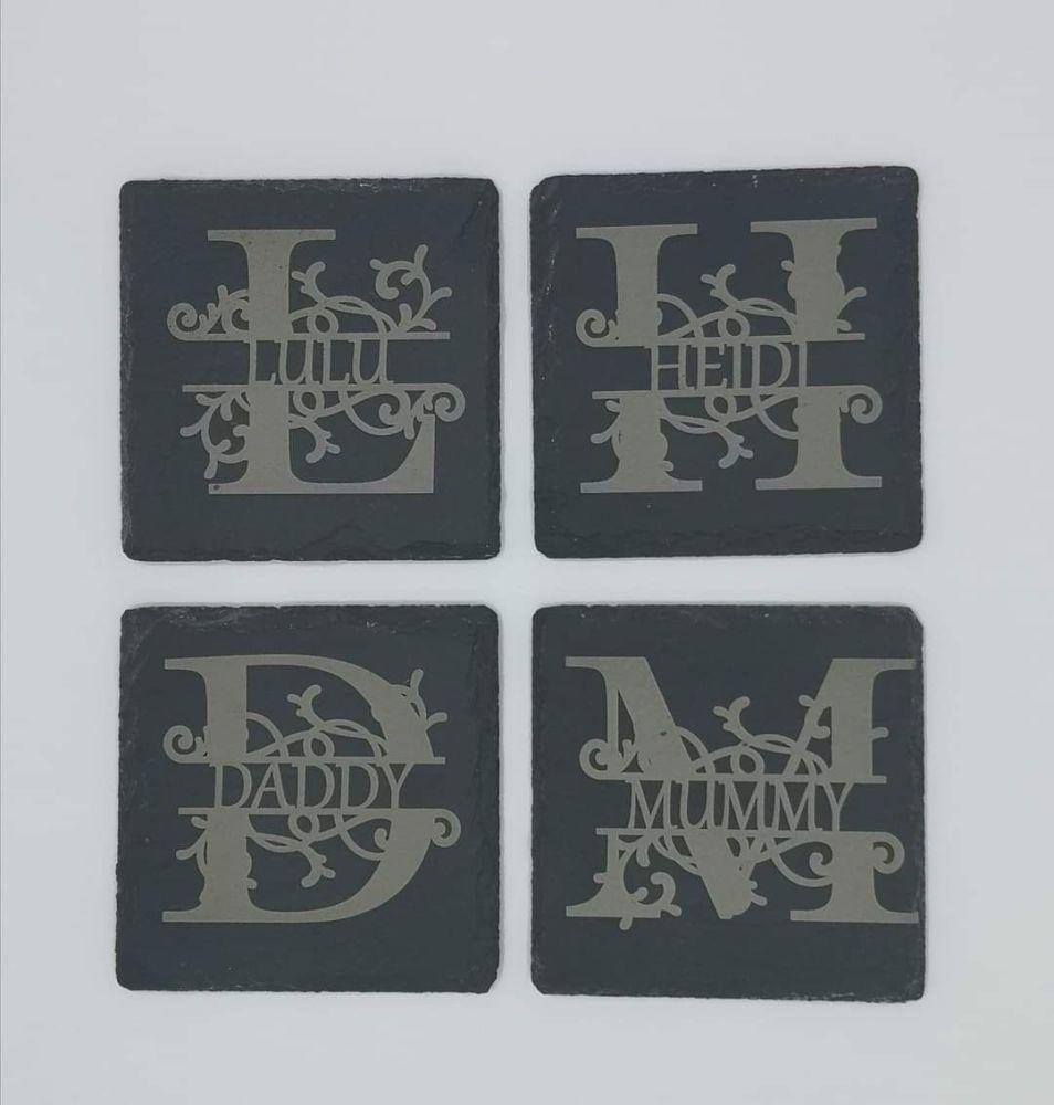 Oak, Slate or Glass Personalised Name and Initial Coasters