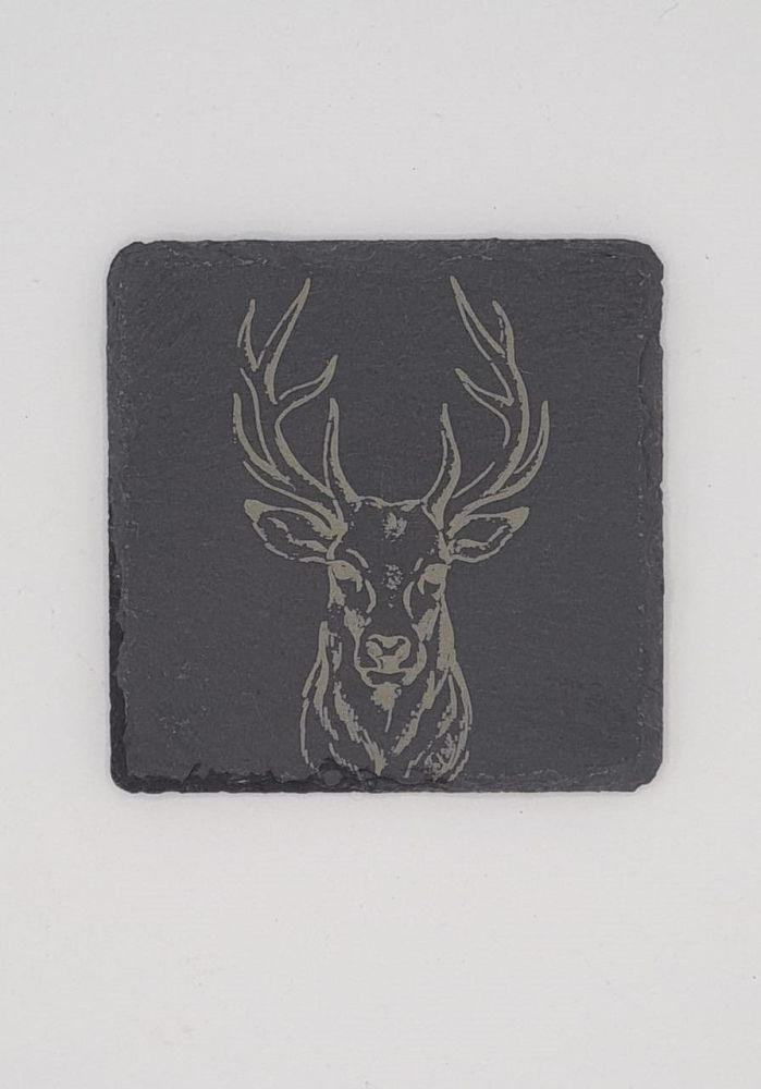 Stag Head Coasters Pack of 4 or 6 - Slate, Oak or Glass