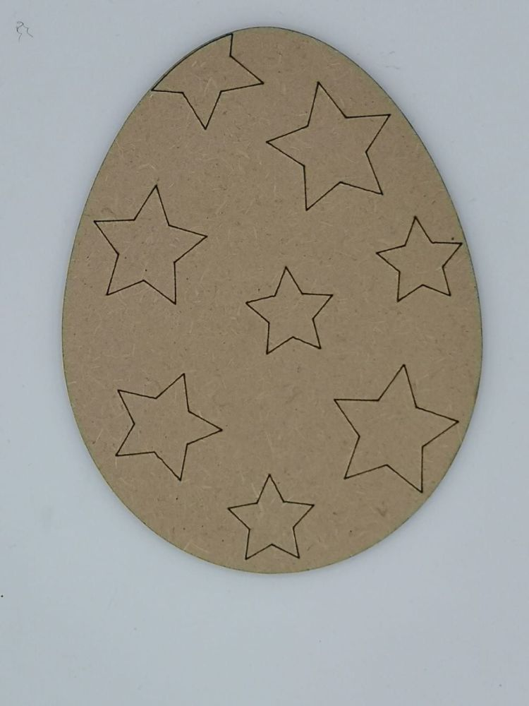 Wooden Easter Egg with Stars