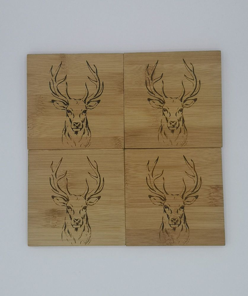 Stag head bamboo coasters