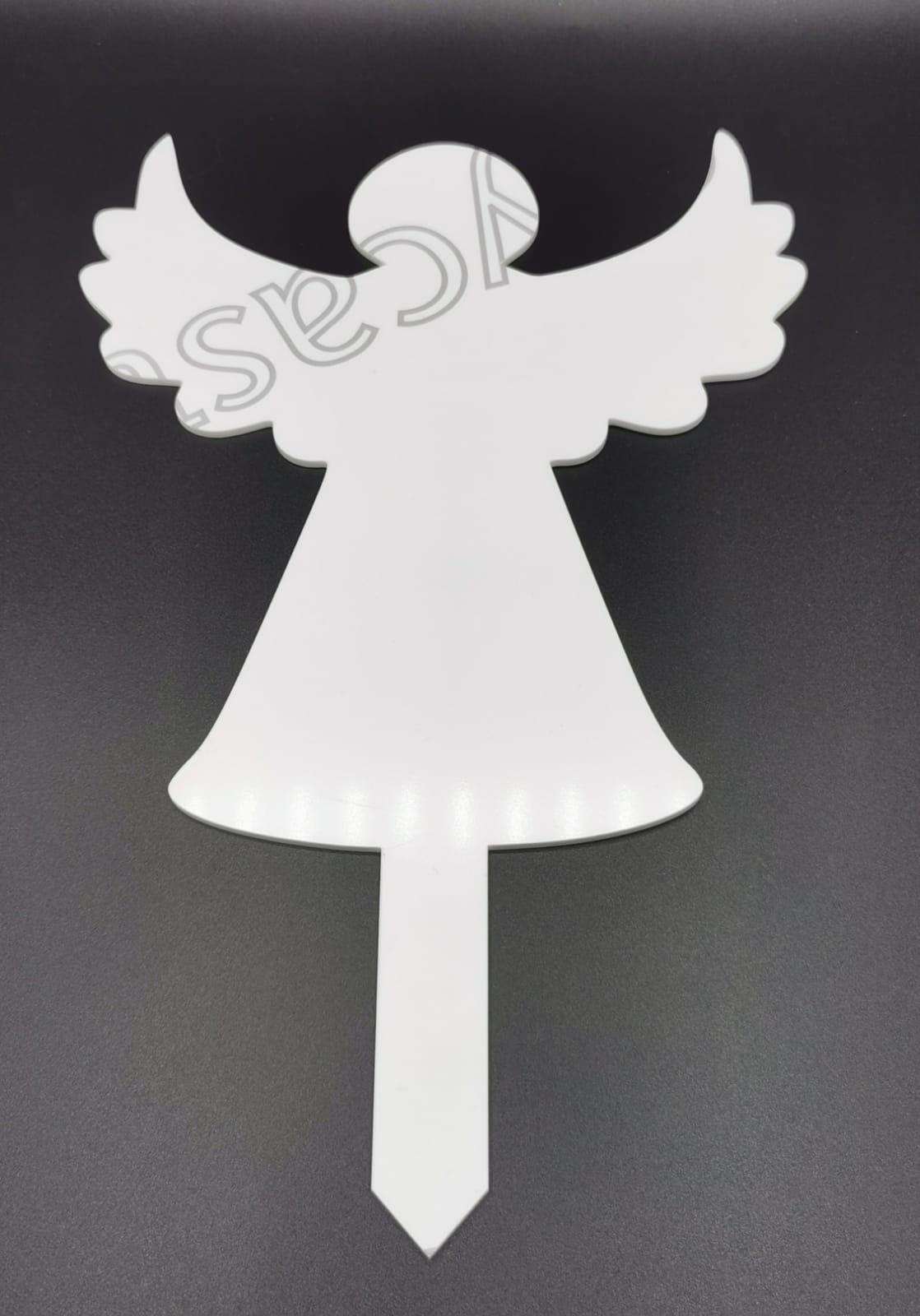 White Acrylic Angel Grave Marker