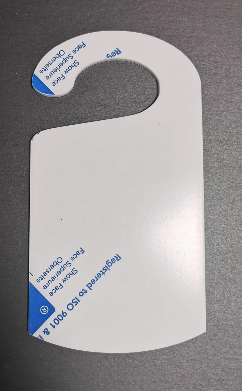 White Acrylic Door hanger - 18.5x10cm - Various Pack Sizes