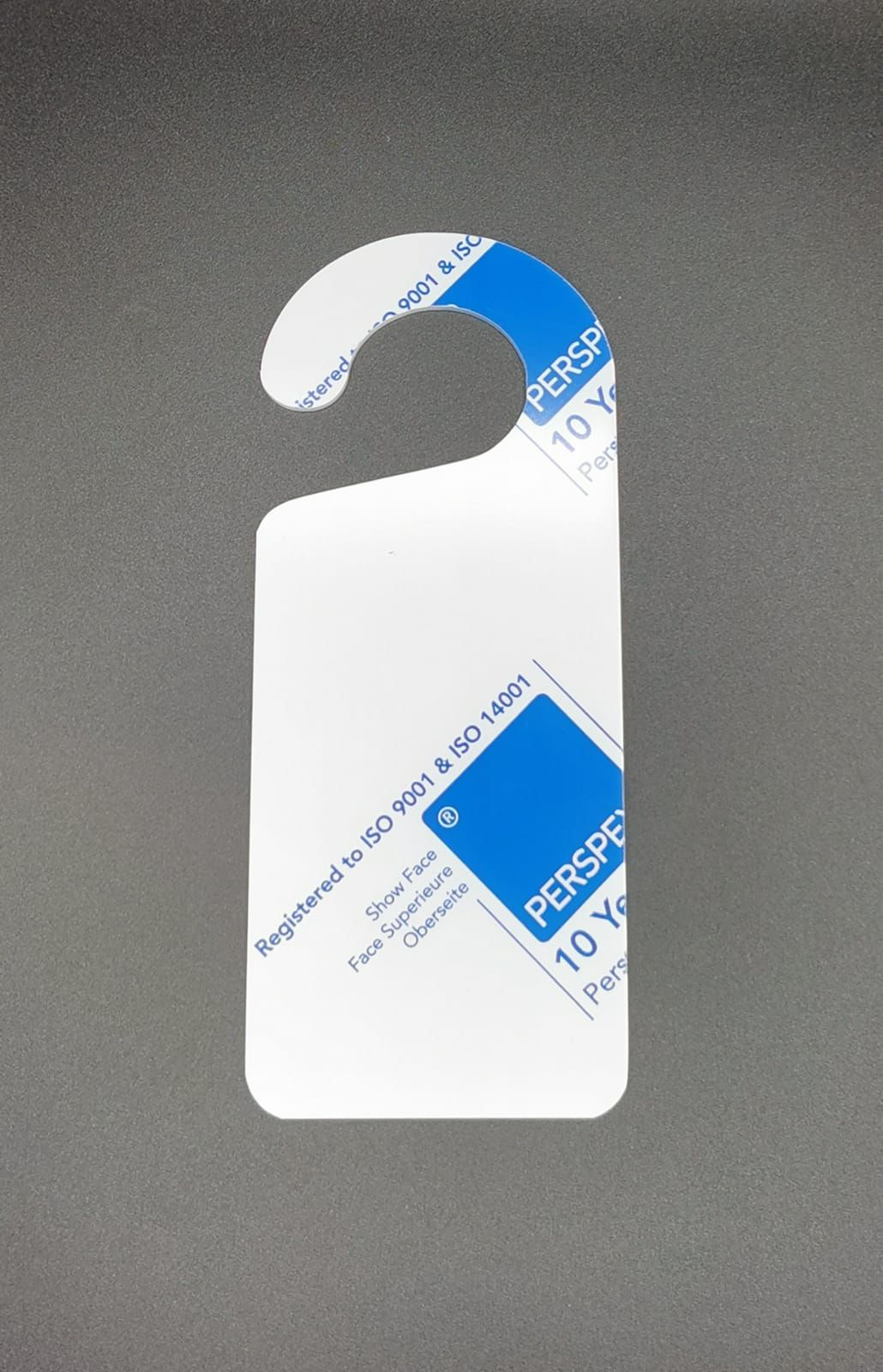 White Acrylic Door Hanger - 20x8.5cm - Various Pack Sizes