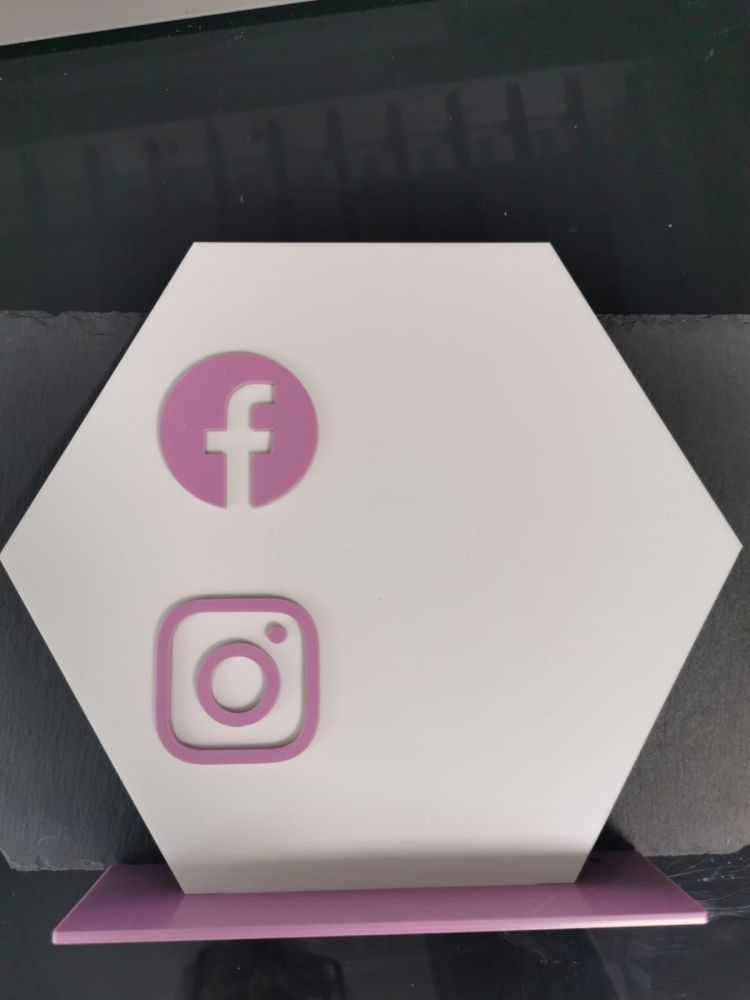 25cm White Acrylic Hexagon with Pastel Stand and Social Icons