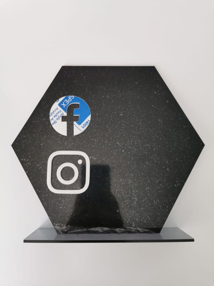 25cm Black Acrylic Hexagon with stand and White social media icons