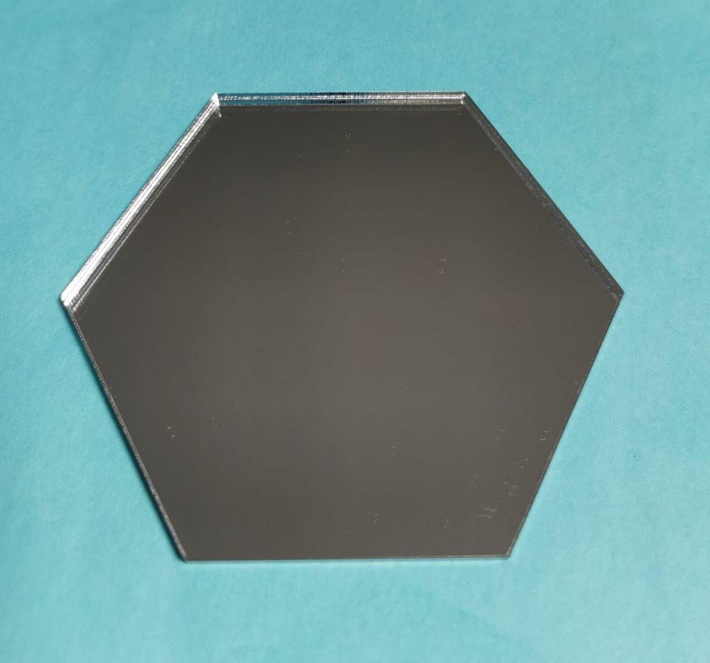 8cm Acrylic Hexagon - Silver Mirror