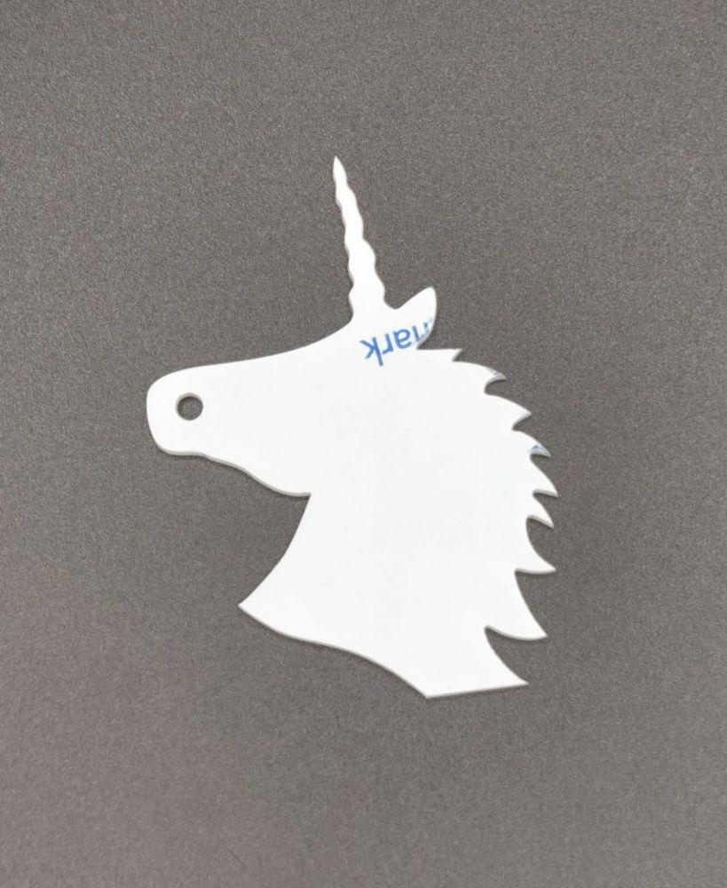 White Acrylic Unicorn Keyring