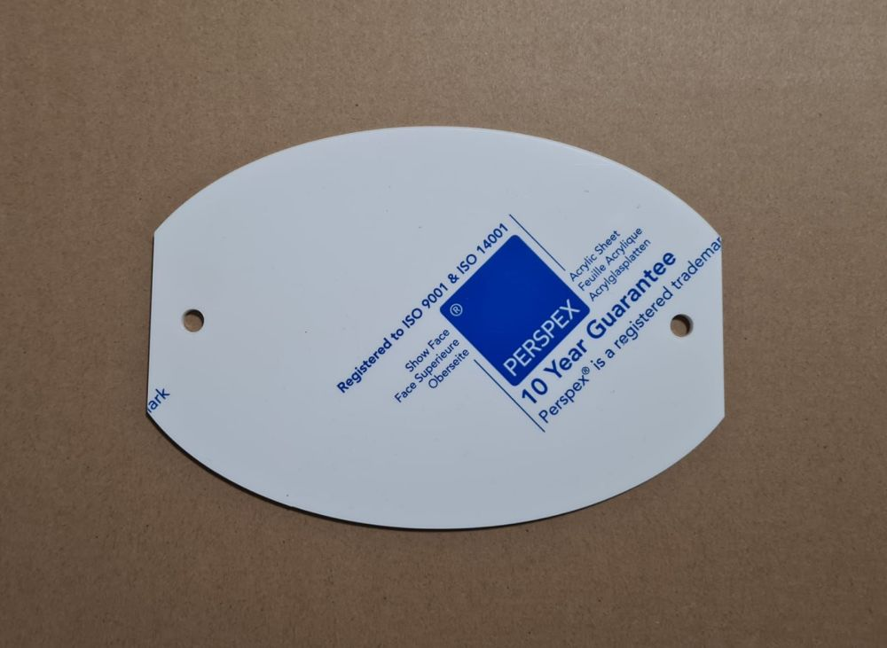A5 Oval Acrylic Landscape Plaque with 2 holes - Clear, Frosted, White, Black, Silver Mirror, Pastels