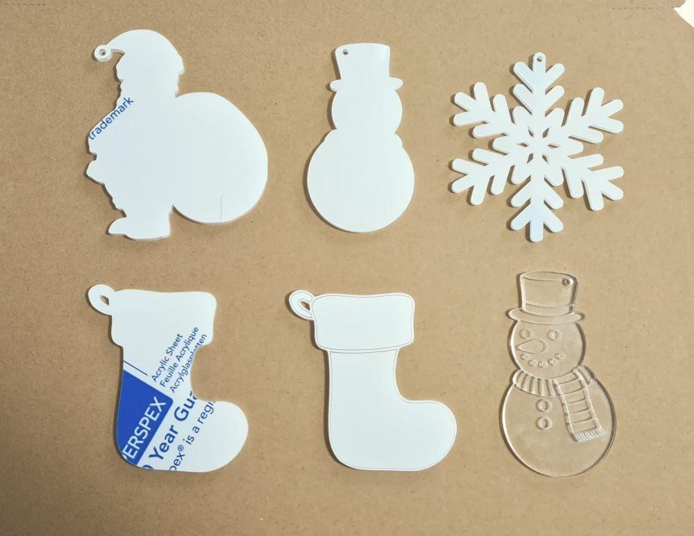 Acrylic  Christmas Bauble Blanks - Snowman - Stocking - Santa - Snowflake