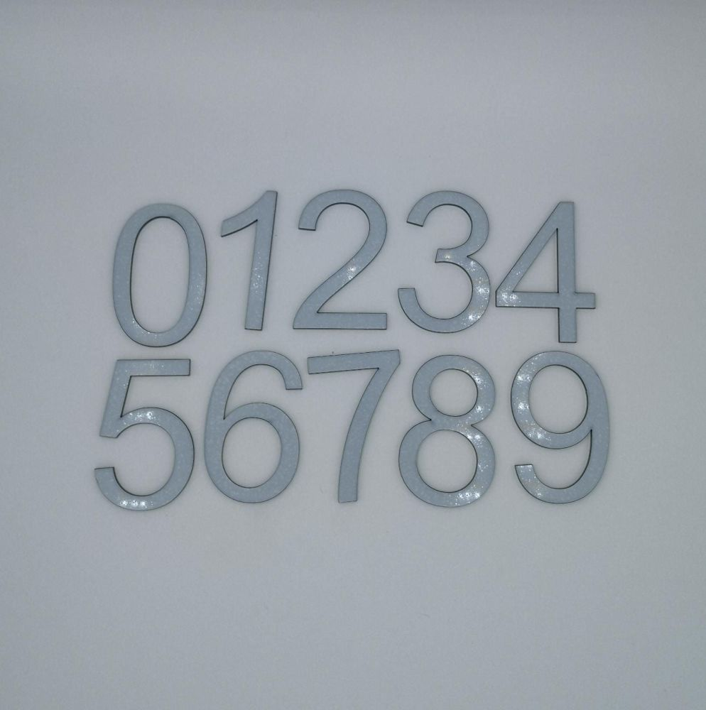 8cm Acrylic Numbers - Pack of 10 Numbers - Black, white, silver mirror, mirror rose gold
