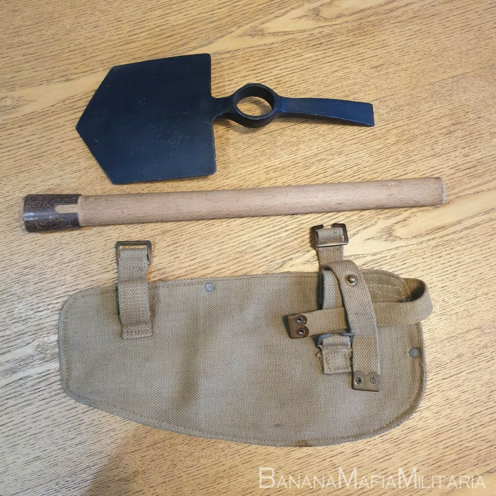 British Implement, entrenching, 37 Pattern carrier, helve & 1930 tool