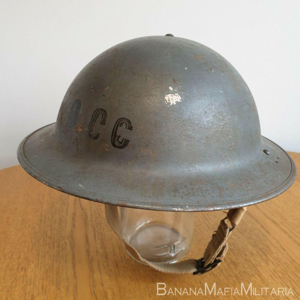 """Original WW2 British home front - """"Brodie"""" Helmet OCC Stencil"""