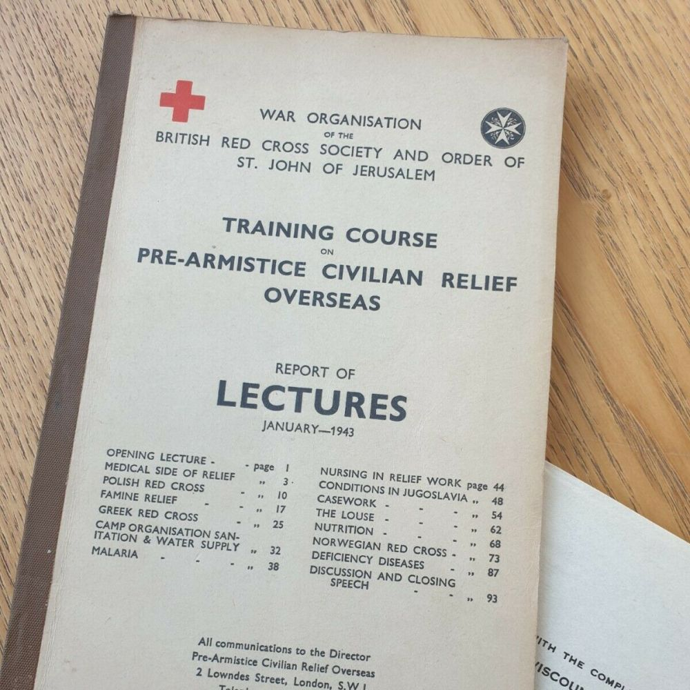 WW2 RED CROSS MANUAL - TRAINING COURSE PRE-ARMISTICE CIVILIAN RELIEF OVERSEAS