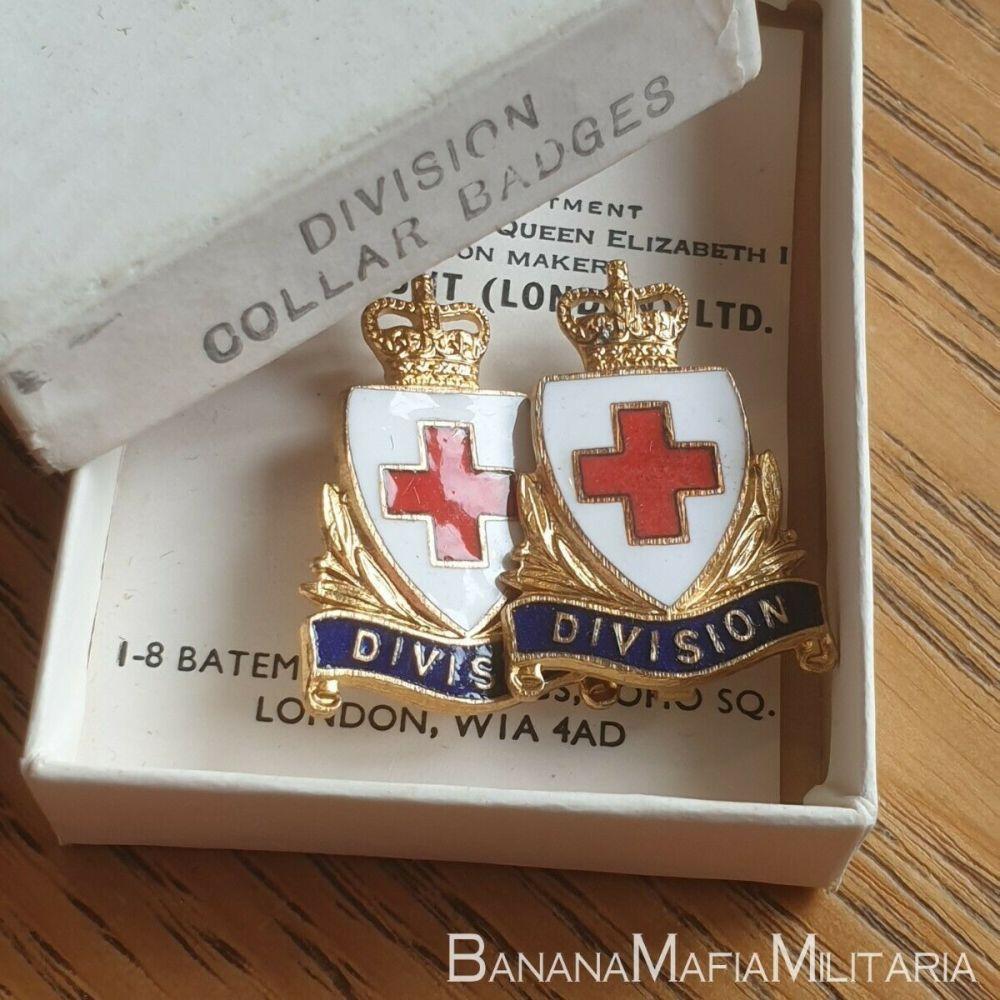 British Red Cross Division Pair Enamel & Gilt Collar Badges - PAIR BOXED GA