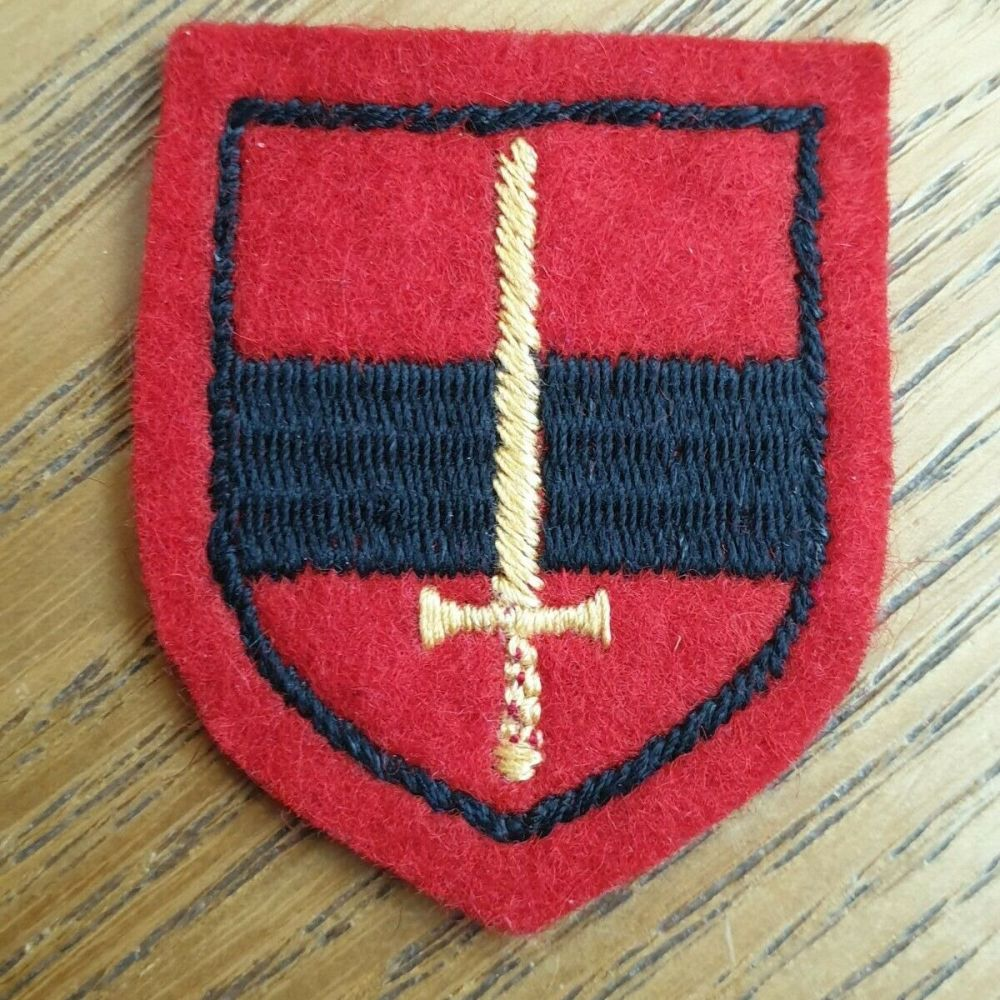BADGE, FORMATION, TA Troops (Yellow Sword On Red/ Black/ Red Shield) Embroidered
