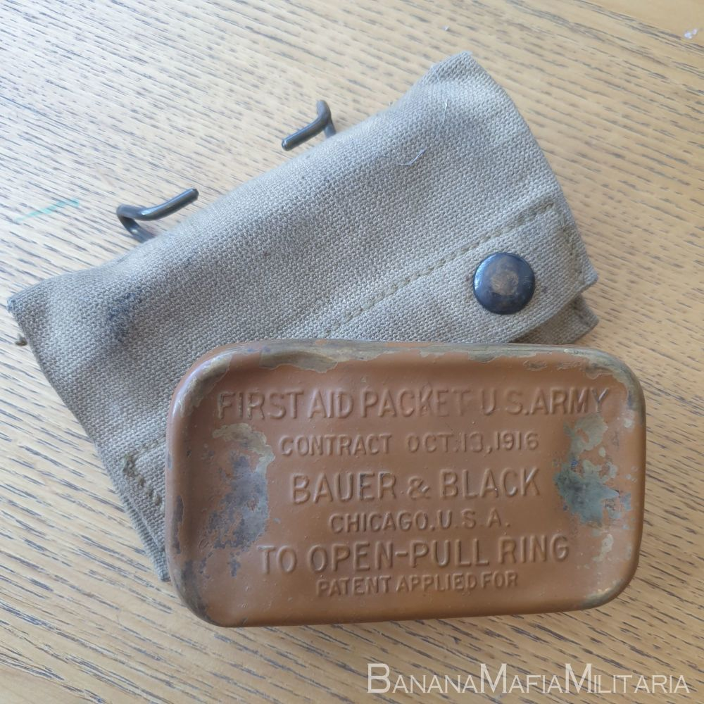 ww1 US m1910 army first aid  field dressing pouch -  with 1916 bauer bandag