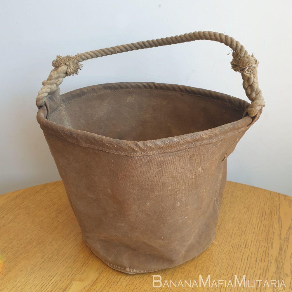 "Original WW2 British army Cloth & rope water carrier ""bucket"""
