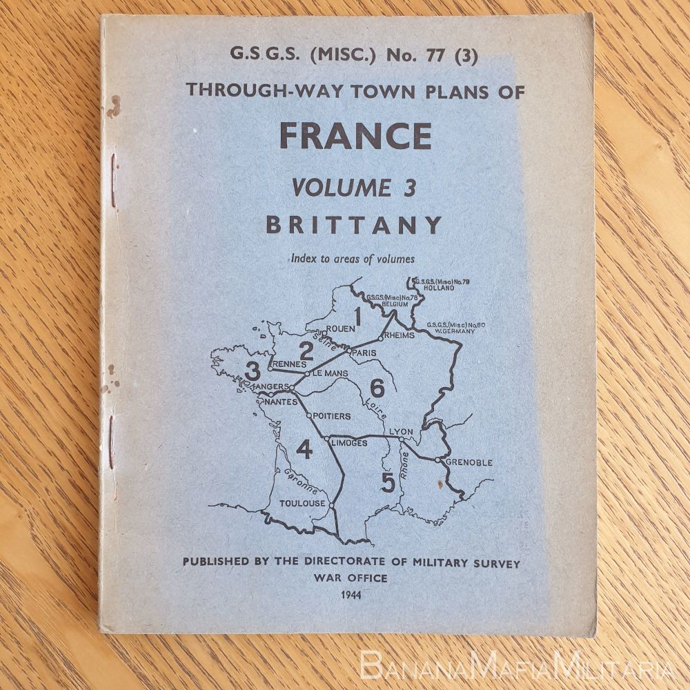 WW2 British - G.S.G.S. Through-Way town plans of France No77 (3) 1944 BRITTANY