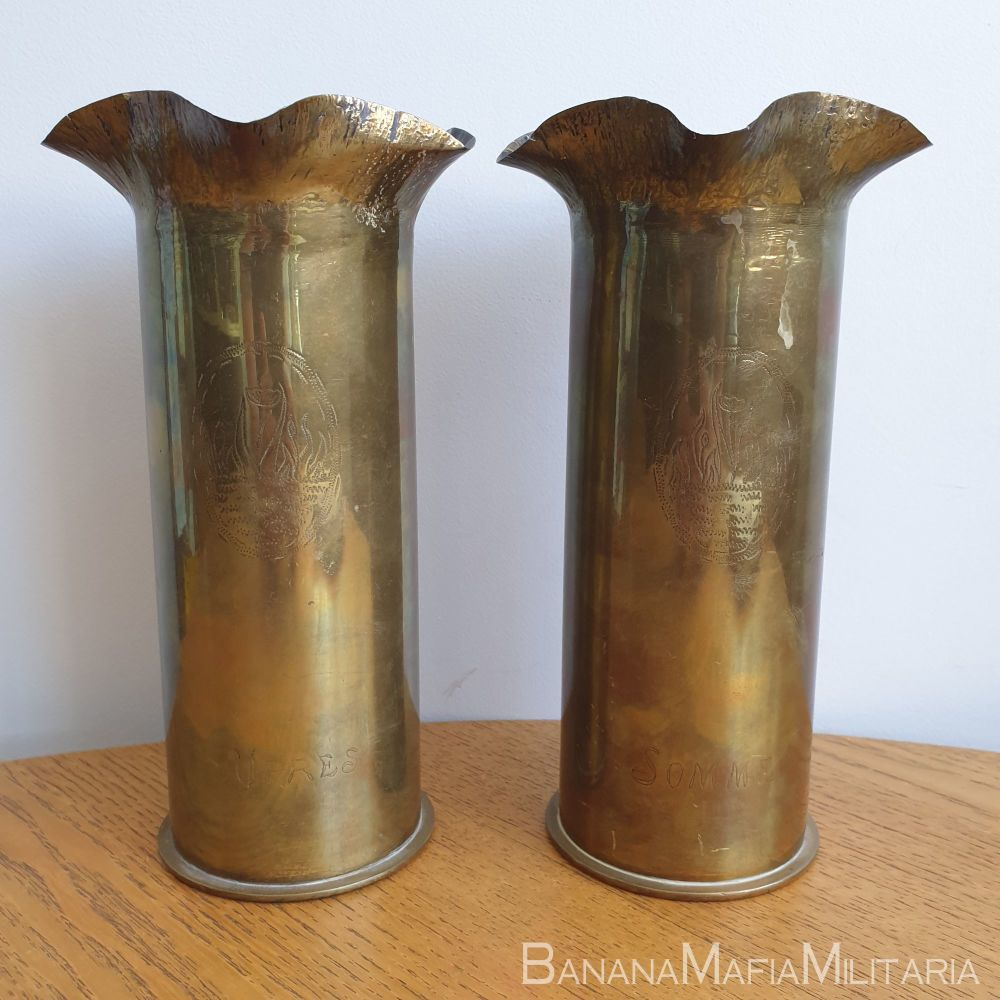 Pair of Trench art WW1 shell casings- Ypres and Somme