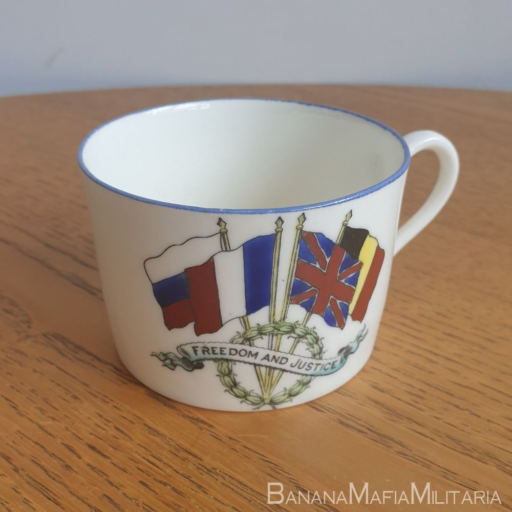 WW1 british Peace Cup - Royal Coleston Pottery 1914 - Freedom & Justice