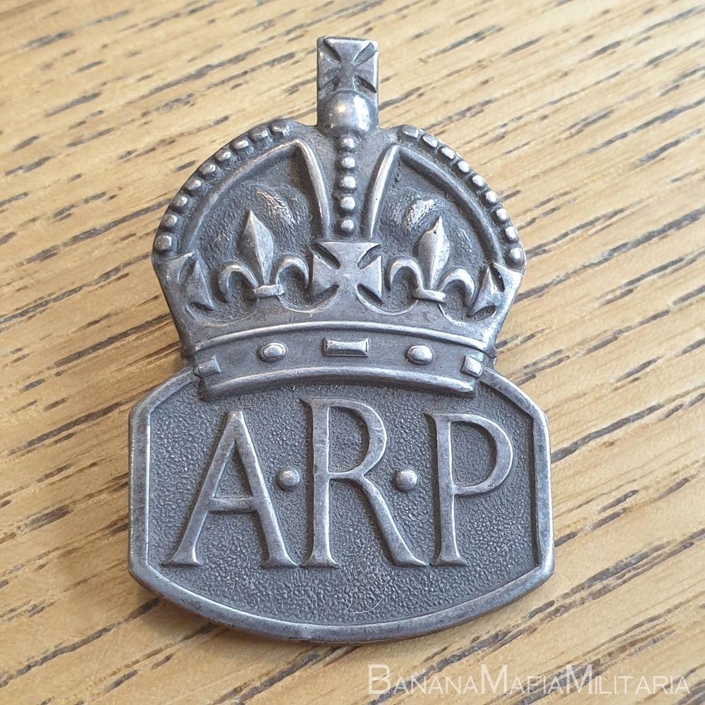 British WW2 Air Raid Precautions silver badge - ARP 1938 hallmarked