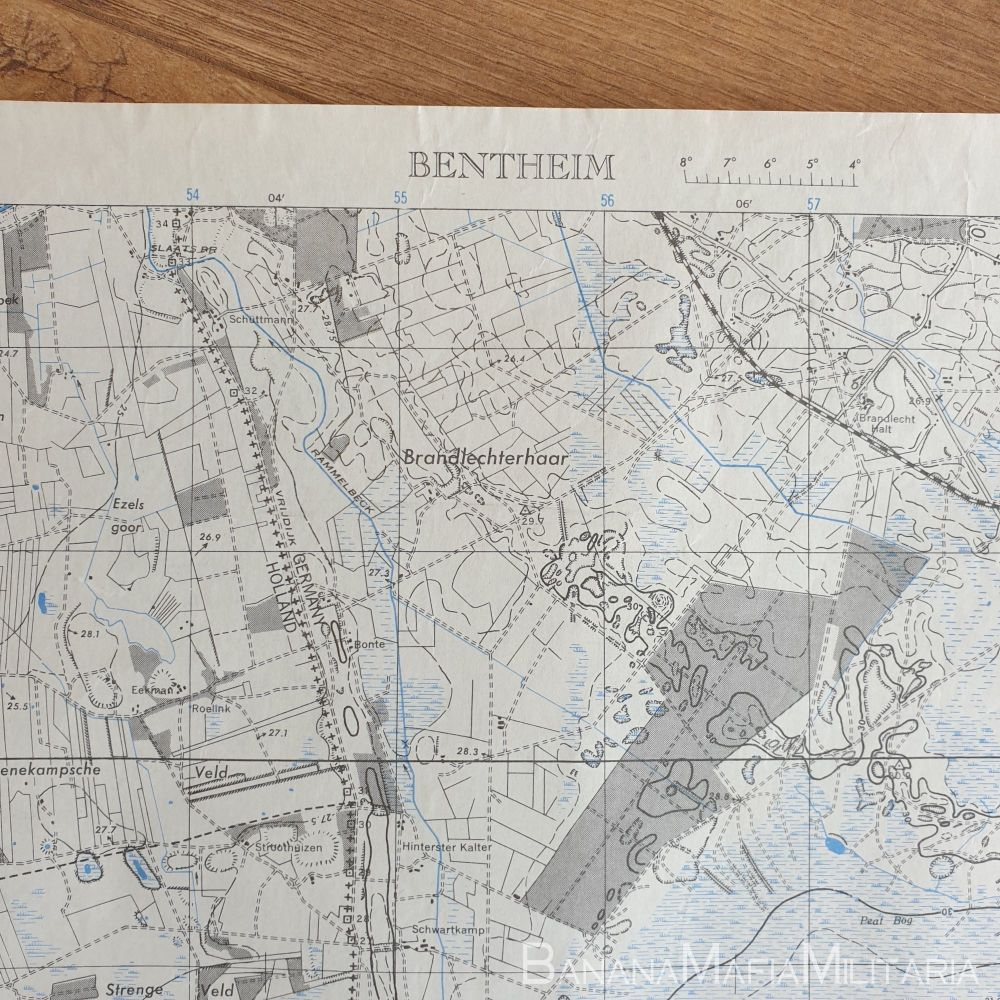 US Army and Air force WW2 Map of Holland - BENTHEIM sheet 3608