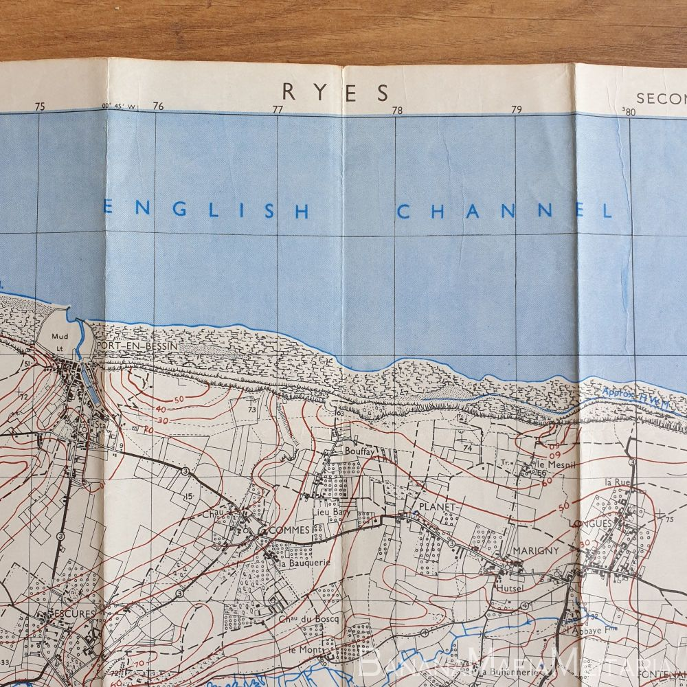 British Army WW2 Map of France - RYES sheet 37/18 S.W (Normandy) D-Day