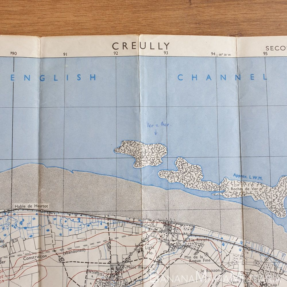 British Army WW2 Map of France - CREULLY sheet 37/18 S.E. (Normandy) D-Day