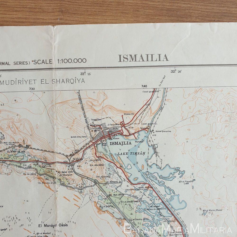 WW2 Italian map of North Africa - ISMAILIA (Riservata Mod.12)