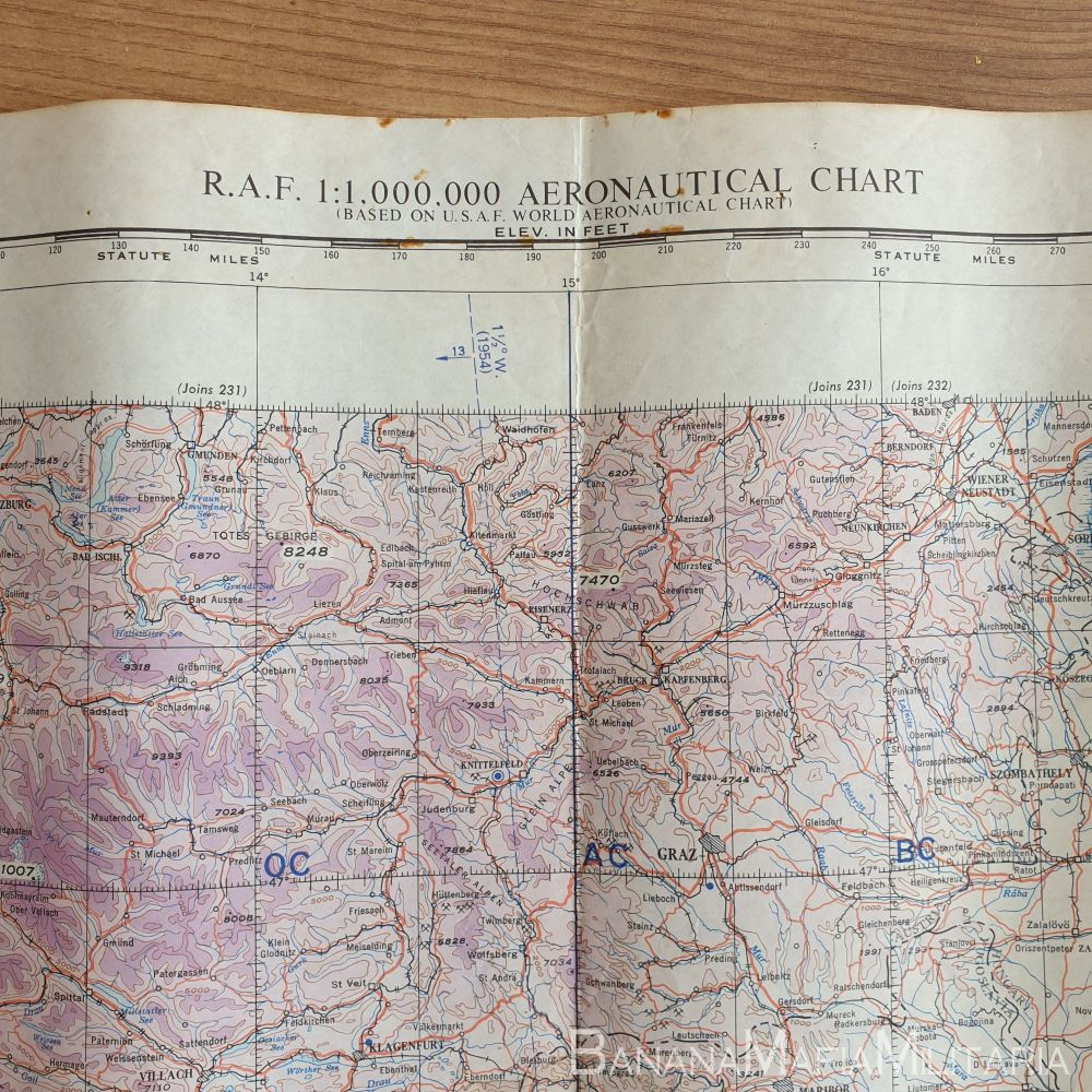 RAF EUROPE 1:1,000,00 AERONATICAL CHART 2nd ED GULF OF VENICE 1951 map