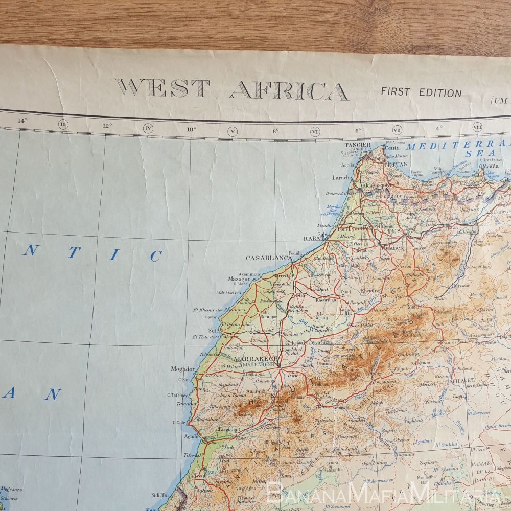 Large WW2 British military map of West Africa - 1943