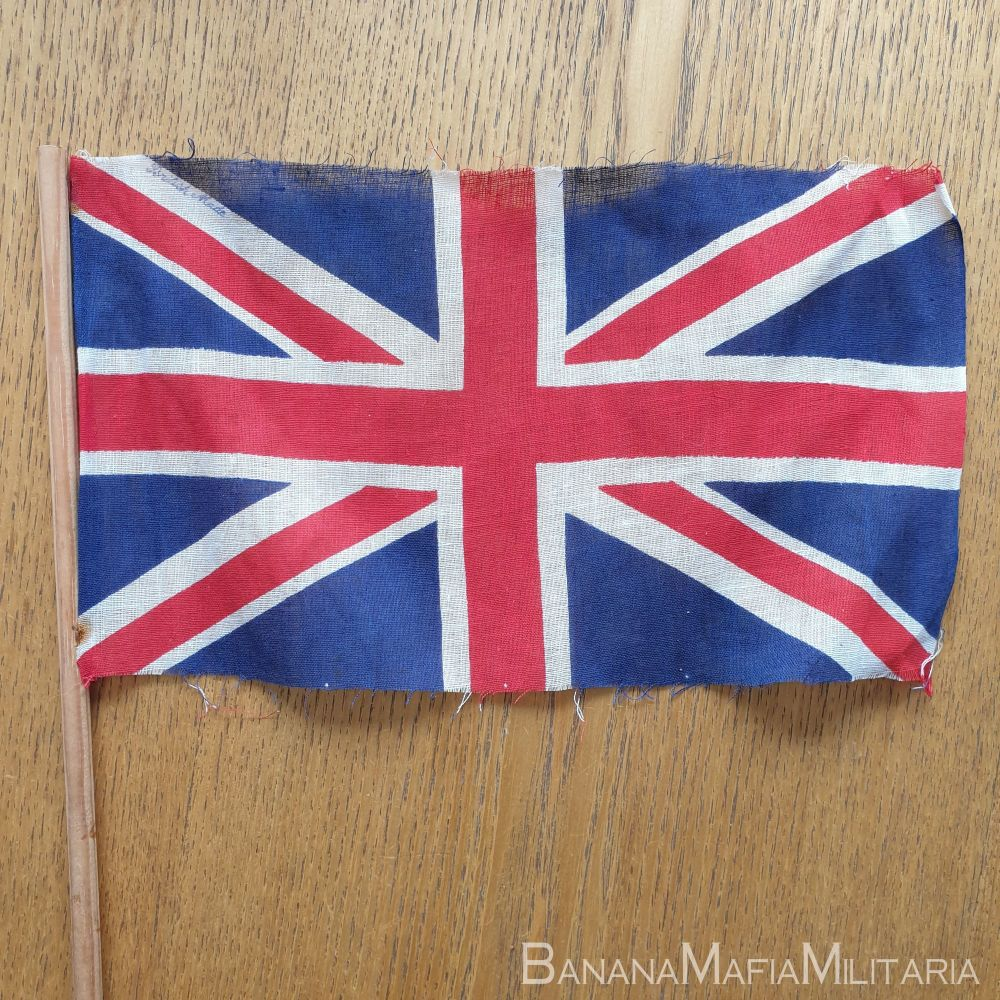 VE day flags  28x16cm (on hand held pole) printed and marked British made.